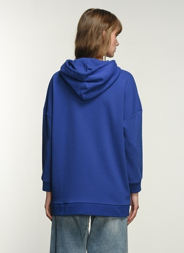 NGSTYLE NGSTYLE Kadın Kapişonlu Oversize Günlük Sweatshirt Saks